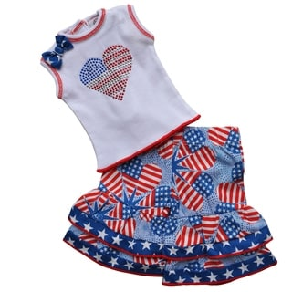 AnnLoren Patriotic Hearts 2 pc Outfit Doll Outfit Fits 18-inch Dolls
