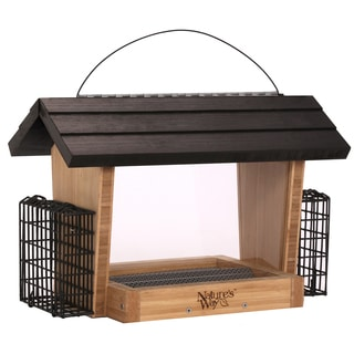Nature's Way Bamboo Hopper Feeder With 2 Suet Cages