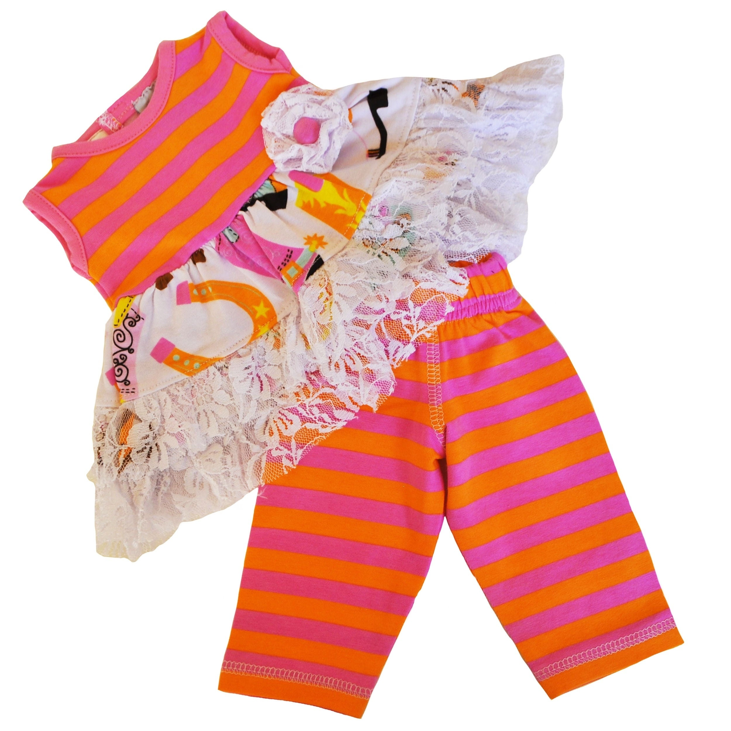 AnnLoren Multicolor Cotton Cowgirl Dress and Leggings Dol...