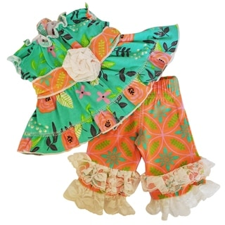 AnnLoren Springtime Floral and Damask Tunic and Capri Doll Outfit for 18-inch Dolls