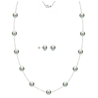 DaVonna Sterling Silver 6-7mm Grey Freshwater Pearl Tin-cup Station Necklace and Stud Earrings Set
