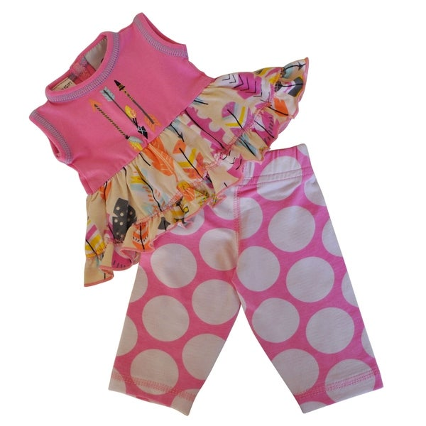 Ann Loren Pink Feather Dress and Capris Doll Outfit (Fits 18-inch Dolls)