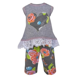 AnnLoren Grey Cotton Floral Heart Tunic and Capri Legging Doll Outfit