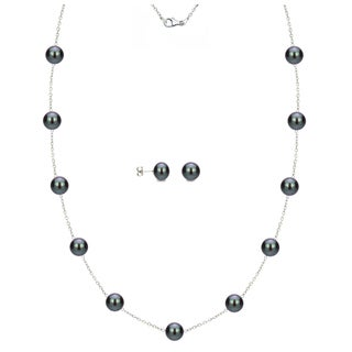 DaVonna Sterling Silver 6-7mm Black Freshwater Pearl Tin-cup Station Necklace and Stud Earrings Set