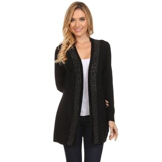 High Secret Women's Solid-colored Nylon/Polyamide/Viscose Stud-embellished Long-sleeved Open-front Cardigan
