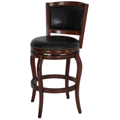 Boraam Black/Brown Wood Dining and Kitchen Swivel Barstool with Back