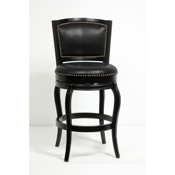 Boraam Harris Collection Black Brown Wood Dining And Kitchen Swivel Barstool With Back