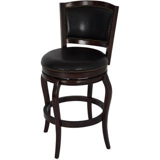 Boraam Harris Collection Black/Brown Wood Dining and Kitchen Swivel Barstool with Back