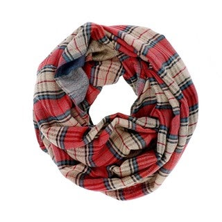 LA77 Blue and Red Plaid Infinity Scarf