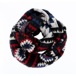 LA77 Blue and Red Acrylic and Nylon Geo Pattern Infinity Scarf