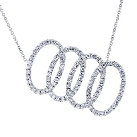Annello by Kobelli Platinum 5/8ct TDW Diamond Overlapping Ovals Necklace