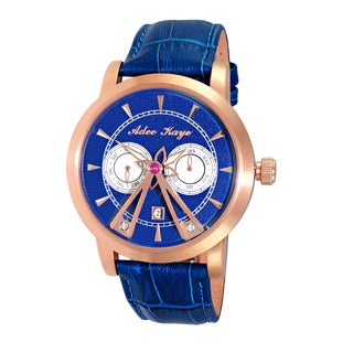 Adee Kaye Men's Rose tone/Blue dial/Blue strap 18 Jewel Automatic Multi Function SS Dome Watch