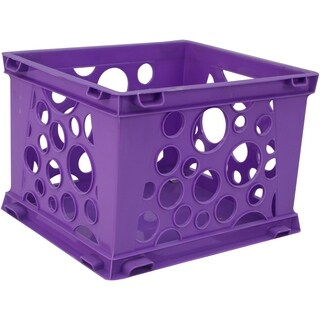 Storex School Purple Plastic Mini Crate (Pack of 3)