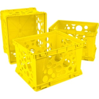 Storex School Yellow Mini Crate 3-pack