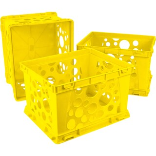 Storex Classroom Yellow Plastic Large File Crates (3 units/pack)