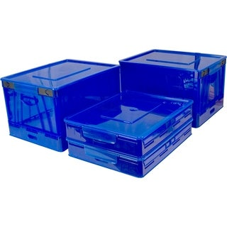 Storex Blue Folding Storage Cube with Lid (Pack of 4)