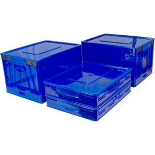 Storex Folding Storage Cube with Lid, Blue (4 units/pack)
