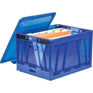 Blue Folding Lidded Storage Cube (Set of 2)