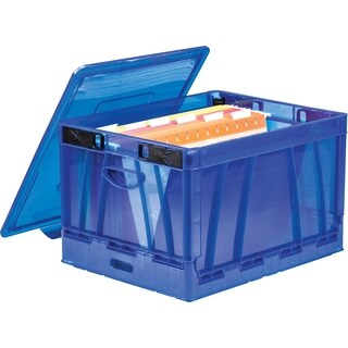 Storex Folding Storage Cube with Lid, blue (2 units/pack)