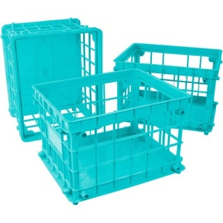 Storex Teal Plastic Standard Letter and Legal File Crates (Pack of 3)