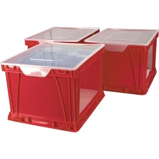 Storex School Red and Clear Plastic Storage and Filing Cubes (Pack of 3)