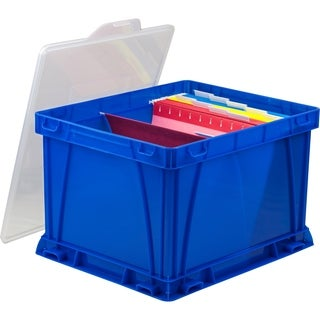 Storex School Blue/Clear Plastic Storage and Filing Cube (Pack of 3)
