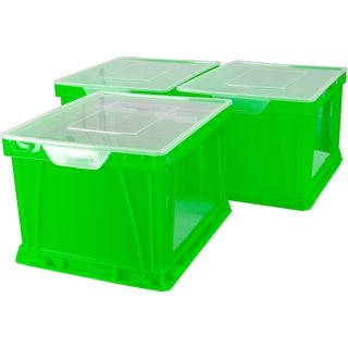 Storex Green/Clear Storage/Filing Cube 3-pack