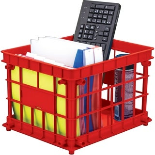 Storex Standard Letter/Legal File Crate,Red (3 units/pack)