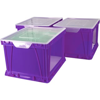 Storex Storage and Filing Cube,Purple Clear (3 units/pack)