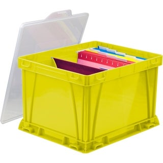 Storex School Yellow and Clear Plastic Storage and Filing Cube (Pack Of 3)