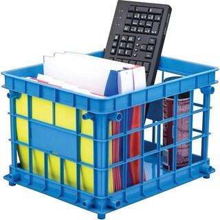 Storex Standard Class Blue Letter/Legal File Crate (Pack of 3)