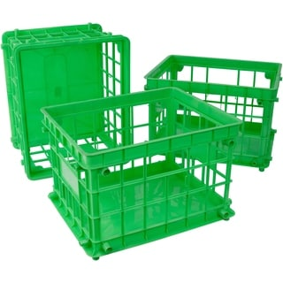 Storex Class Green Standard Letter/Legal File Crate 3-pack
