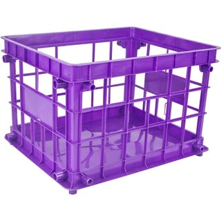 Purple Plastic Class Standard Letter/Legal File Crate (Pack of 3)