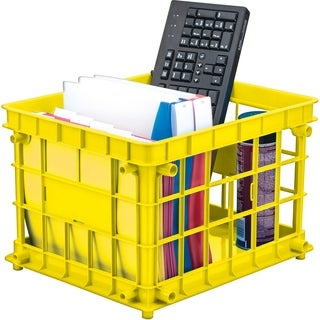 Yellow Plastic Standard Letter/Legal File Crate (Pack of 3)