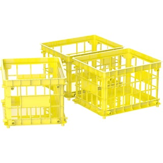 Storex Standard Letter/Legal File Crate,Yellow (3 units/pack)