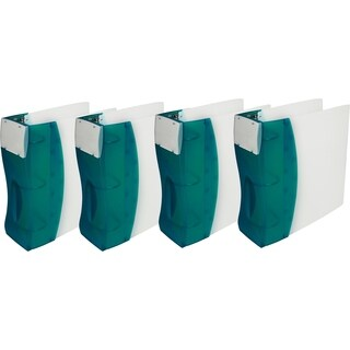 "Storex Duratech Hard-Cover Binder /2""-inch ,O-Ring / White- Aqua spine (4 units/pack)"