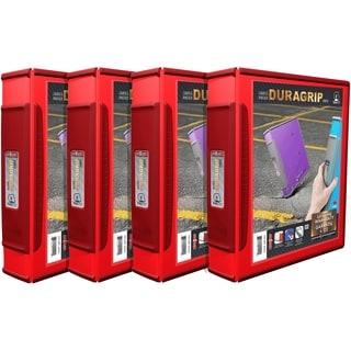 Storex Duragrip Red 2-inch D-ring View Binder (Pack of 4)