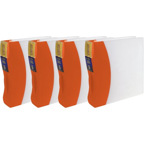 """Storex Duratech Hard-Cover Binder/ 2""""-inch O-Ring/ White -Orange spine (4 units/pack)"""