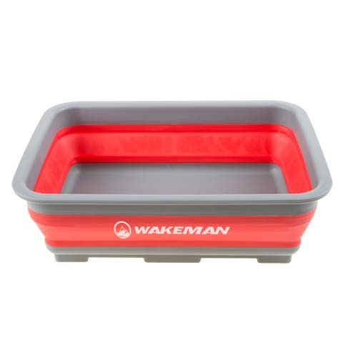 Collapsible Multiuse Wash Bin- Portable 10 L Capacity Wakeman Outdoors (Red)
