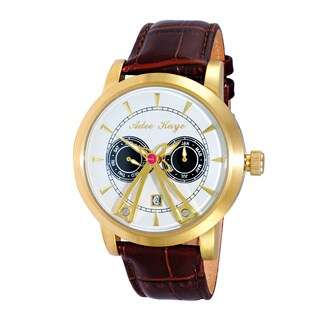 Adee Kaye Men's Gold-tone/Silvertone Stainless Steel/Leather 18 Jewel Automatic SS Dome Watch