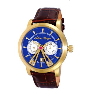Adee Kaye Men's Goldtone/Blue/Brown Strap Stainless Steel 18-jewel Automatic Multifunction Dome Watch
