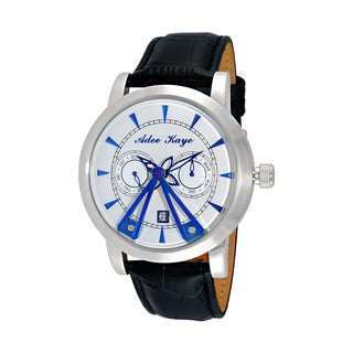 Adee Kaye Men's Black Leather Silvertone and Blue 18-jewel Automatic Dome Watch