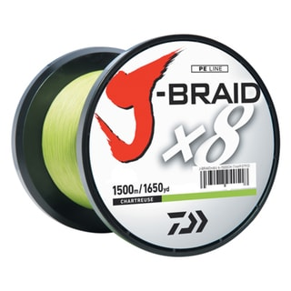 Daiwa J-Braid Chartreuse 8 lbs Tested 1650 Yards/1500m Filler Spool Braided Line