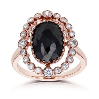 Annello by Kobelli 14k Rose Gold 3 1/3ct TDW Oval Black and White Diamond Orbiting Bezel Halo Ring