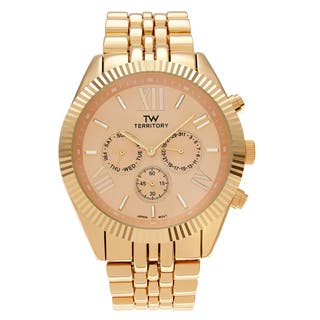 Territory Men's Chronograph Roman Numeral Dial Link Bracelet Watch|https://ak1.ostkcdn.com/images/products/14033144/P20651166.jpg?impolicy=medium