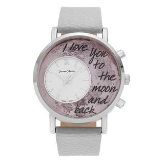 Journee Collection Round Moon 'To the Moon and Back' Inscription Dial Faux Leather Strap Watch