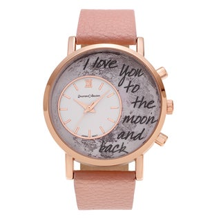 Journee Collection Rose Goldtone Moon 'To the Moon and Back' Inscription Dial Faux Leather Strap Watch