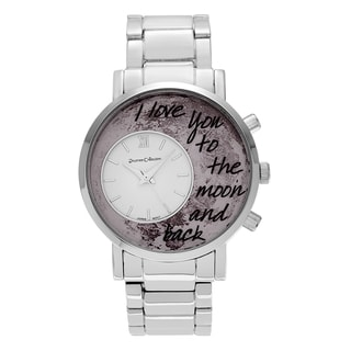Journee Collection Silvertone Round 'To the Moon and Back' Inscription Moon Dial Link Bracelet Watch