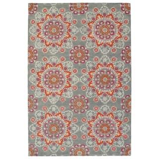 Hand-Tufted de Leon Grey Mosaic Rug (5' x 7'9)