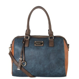 Diophy Faux Leather 2-tone Front Logo Large Tote Bag with Removable Strap